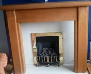 Beautiful Clean Modern Light Oak fire Surround Mantle Feature