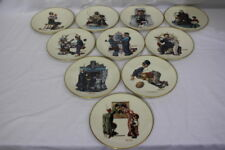 "Set of 10 Vintage 1978 Danbury Mint Gorham Norman Rockwell 8.5"" Collector Plates"