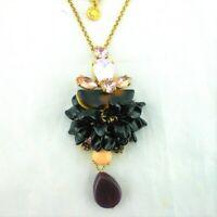 J Crew Black Pink Purple Rhinestone Crystal Pendant Necklace Gold Tone Chain