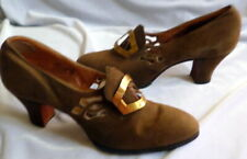 Vintage 1920s Brown Suede Shoes with Art Deco Buckle Size 5 1/2