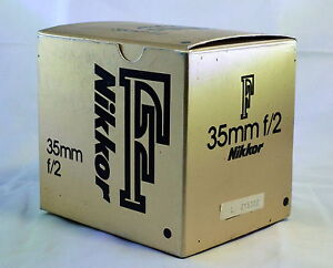 empty box for Nikon 35mm f2.0 F Nikkor lens Ai with foam insert - vintage