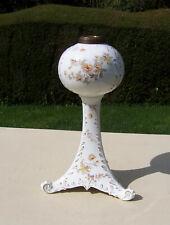 Antique Cauldon Ceramic Duplex Oil Lamp Base & Font - Floral Decoration