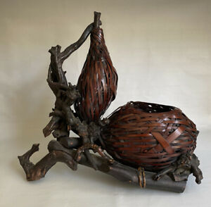 Japanese Double Gourd Ikebana Basket #2. Made with bamboo and wisteria root.