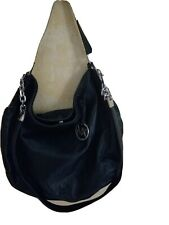 MICHAEL Kors Black Leather Hobo Bucket Body Bag Silver Chain Hardware