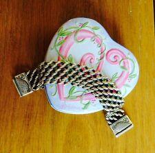 Brighton Wide Silver Woven Bracelet w/Decorative Heart Clasp in Brighton Tin