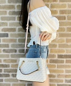 Michael Kors Teagen Small Messenger Crossbody Bag Vanilla MK Powder Blush Pink