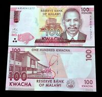 MALAWI 100 Kwacha UNC BANKNOTE PAPER MONEY AFRIKA WÄHRUNG RANDOM YEAR