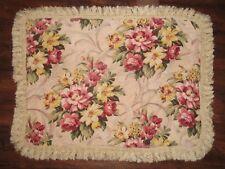Vtg Shabby Cottage Pink Rose Floral Barkcloth Fabric Fringe Std Pillow Sham Pair