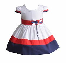 New Baby Girls Ivory Red and Blue Cotton Summer Party Dress 3-6 Months