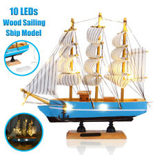 LED Wood Sailboat Nautical Ship Model Craft Sailor Handcrafted Boat Decor Gift