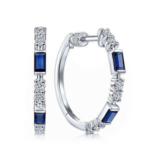 Elegant Jewelry Blue Sapphire 925 Silver Hoop Earrings Women's Gifts A Pair/set