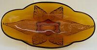 Vintage Indiana Amber Glass Leaves Pattern Candy Nut Trinket Dish Bowl