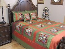 Designer Trendy Peacock Bedspread Embroidered 5P India Bedding Ensemble ~ Queen