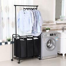 SONGMICS Wäschetruhe Wäschewagen Kleiderständer Wäschekorb mit 3 Fächern LSF003R