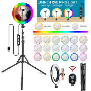 """LED 10"""" Ring Light RGB With Mirror and 2m Tripod stand for Photo Video Makeup"""