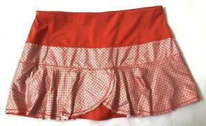 Lucky in Love ~ Tennis Skort Golf Short Skirt ~ Orange / White ~ Size L