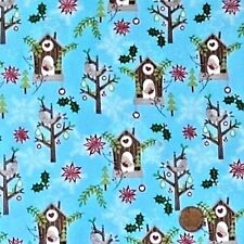 BIRD HOUSES ON BLUE FROM CRAFT COTTON CO.- 100% COTTON FABRIC FQ