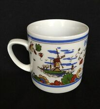 Delft IS colorful hand painted earthenware coffee mug Holland Netherlands