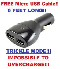 USB Car Charger OEM HTC 2 Port Dual Adapter - iPhone 5 6 7 Samsung HTC Universal