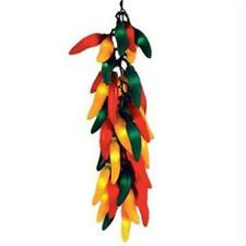 New listing New in Box 35 Light 17 foot Green Wire Multi Chili Pepper Light Strand String