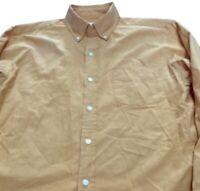 EUC Mens J. Crew Sunwashed Oxford 100% Cotton Dress Shirt Orange Size Medium