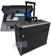 Pro XL Black Aluminium Wheeled Pilot Case Hard Attache Briefcase on Wheels
