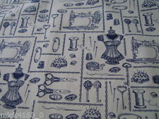 French Vintage Style - Sewing Machine / Mannequin 100% Cotton Poplin Fabric