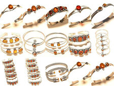 Silver Plated Free Postage Cuff Handmade Only Amber Gemstone Jewelry 15Pcs