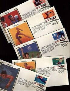 US Scott 2637-41 Colorano Silk 5 FDCs Complete 1992 Summer Olympics