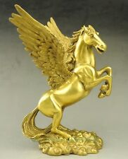 China fengshui Brass Wealth Zodiac fly wings horse Myth animal Pegasus Statue