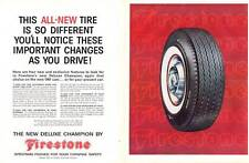 1960 Firestone PRINT AD DeLuxe Champion Whitewall Tire Great for shop decor