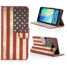 Case For Samsung Galaxy A5 (2015) PU Leather Wallet Book Cover US Flag Old Glory
