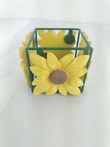Sunflower Votive Candle Holder Square Metal Resin Summer Spring
