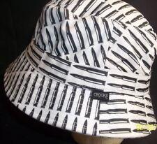 Crooks Castles Black White Polyester Bullet Bucket Hat shell Ammo Rare NEW 5177