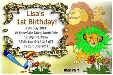 1 x THE LION KING PERSONALISED BIRTHDAY INVITATIONS + FREE MAGNETS