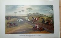 LARGE Print 45x29cm Vale of Aylesbury Steeple Chase Hunting Horse Racing Antique