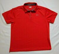 Mens Under Armour Red polo golf Shirt Golf Short Sleeve XXL 2XL