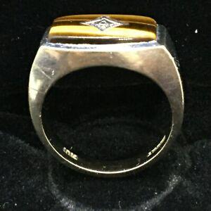 10K White Gold Tiger Eye Ring w/ Diamond