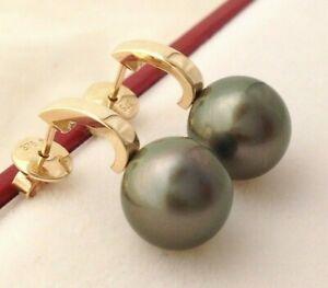Genuine Tahitian Pearls 10.3mm AAA on 9k Solid Yellow Gold Drop Stud Earrings