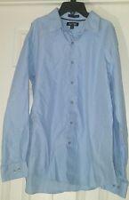 Apt 9 Men Button Shirt XL Baby Blue Cotton Long Sleeve (A11)