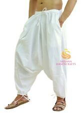 Men Women White Harem Pants Trousers Aladdin Yoga Indian Boho Genie Baggy Unisex