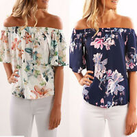 Womens Floral Off Shoulder Ruffle Tops Short Sleeve Blouse Loose Casual T-Shirts