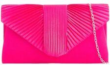 Pink Clutch Bag Ladies Cerise Satin Evening Bag Fuchsia Hot Pink Shoulder Bag