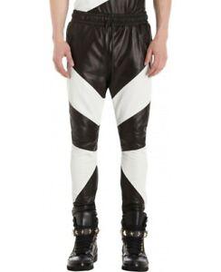 Leather Pant Mens Biker Long Trousers Motorcycle Skinny Side Motor Men Black 9