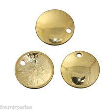 20pcs Pendentifs Breloque Rond Métal Doré Bijoux Accessoire Pr Collier 12mm
