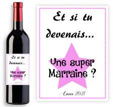Étiquette bouteille de vin pour demande future Marraine