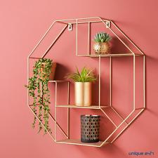 NEW Hexagon Metal Wire Wall Shelf Home Decor Storage Floating Shelf GOLD