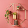 NEW Hexagon Metal Wire Wall Shelf Home Decor Storage Floating Shelf GOLD