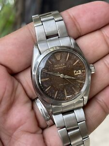 Vintage Rolex Oysterdate Precision Watch Ref 6694 Cal 1215 Tropical Dial