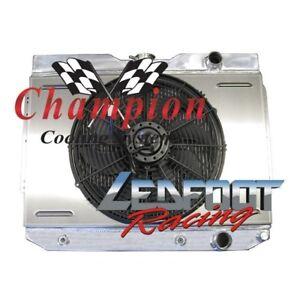 "1959-1963 4 Row Core Chevy Impala Champion Radiator With Shroud And 16"" Fan"